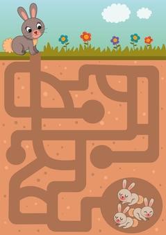 Gioco educativo del labirinto madre coniglio e i suoi bambini puoi aiutarla a arricchire i suoi bambini?