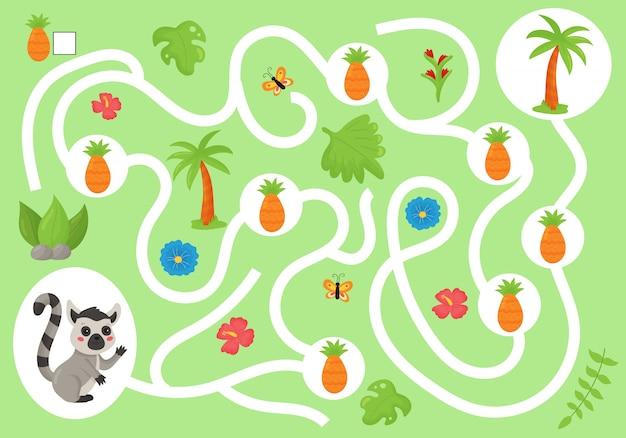 Gioco educativo del labirinto per bambini in età prescolare. aiuta il lemure a raccogliere tutti gli ananas. simpatico animale della giungla kawaii. contare e scrivere.