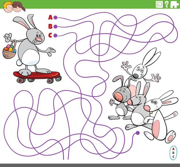 Gioco educativo del labirinto con il coniglietto di pasqua del fumetto su skateboard