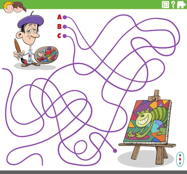 Gioco del labirinto educativo con il pittore dei cartoni animati e la sua pittura