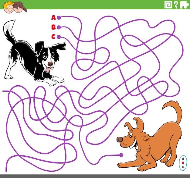 Gioco educativo del labirinto con cani giocosi dei cartoni animati
