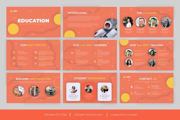 Modello powerpoint di presentazione educativa e design di presentazione educativa