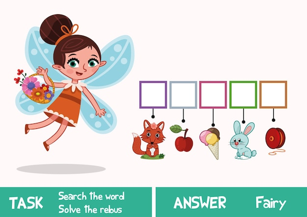 Gioco di puzzle educativo per bambini trova la parola nascosta fairy vector illustration