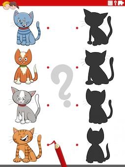 Gioco educativo dell'ombra con personaggi dei gatti dei cartoni animati