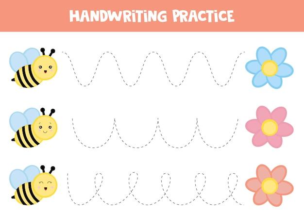 Foglio di lavoro educativo per bambini. tracciare le linee. pratica della scrittura a mano. ape e fiore.