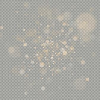 Effetto di cerchi bokeh su sfondo trasparente. natale scintillante caldo elemento glitter arancione che può essere utilizzato.