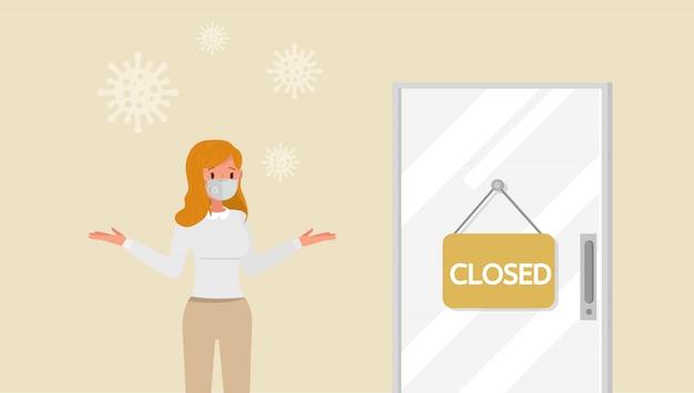L'effetto della pandemia di coronavirus negli affari globali. negozio chiuso a causa della quarantena del virus. no2