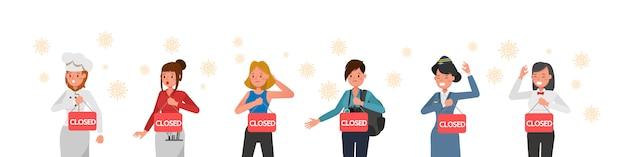L'effetto della pandemia di coronavirus negli affari globali. negozio chiuso a causa della quarantena del virus.