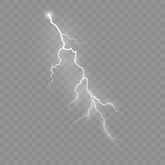 L'effetto del lampo e dell'illuminazione, set di cerniere lampo, temporale e lampo, simbolo di forza naturale o magia, luce e splendore, astratto, elettricità ed esplosione, illustrazione, eps 10