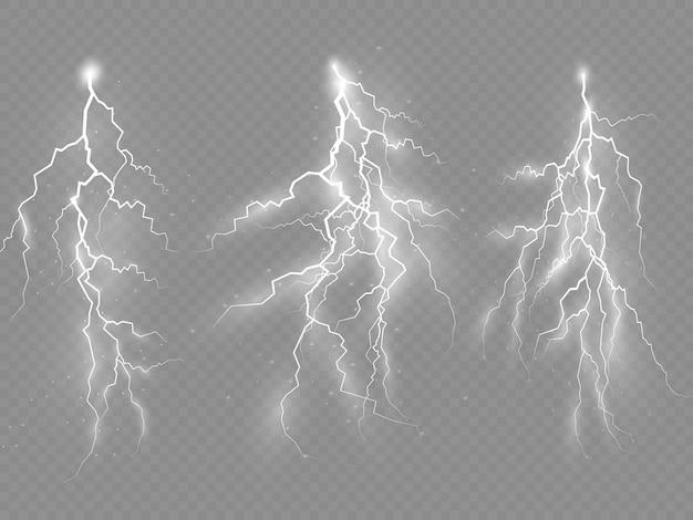 L'effetto di fulmini e luci, temporali e fulmini.