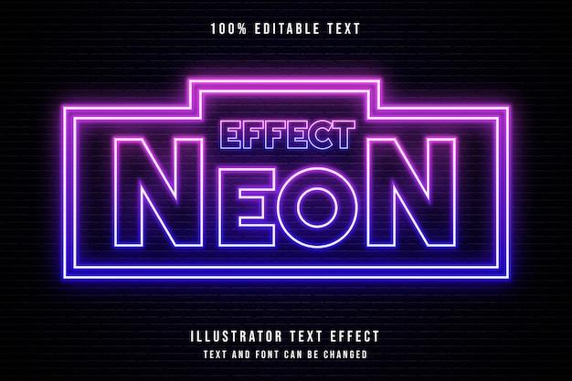 Effetto neon, effetto di testo modificabile 3d effetto neon rosa sfumato blu