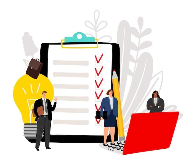 Efficace team aziendale. implementazione del progetto, illustrazione vettoriale di successo aziendale. personaggi dei cartoni animati piatto felice