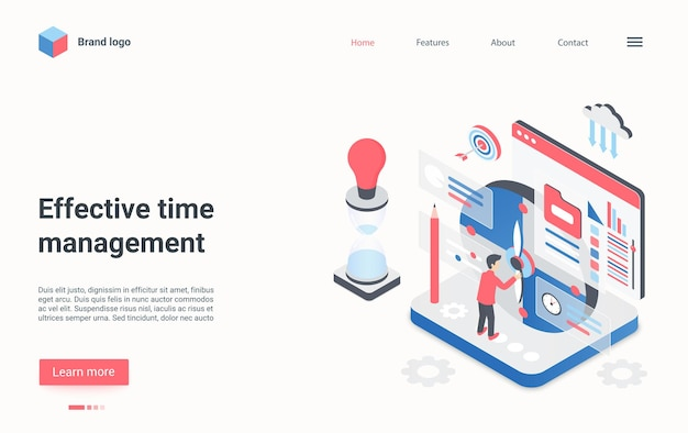 Pagina di destinazione isometrica di gestione del tempo efficace