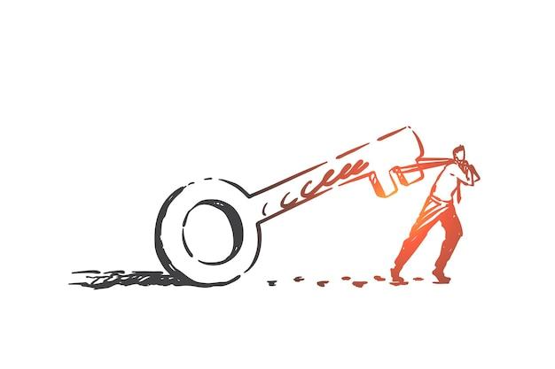 Sforzo, determinazione, illustrazione di schizzo del concetto di lotta