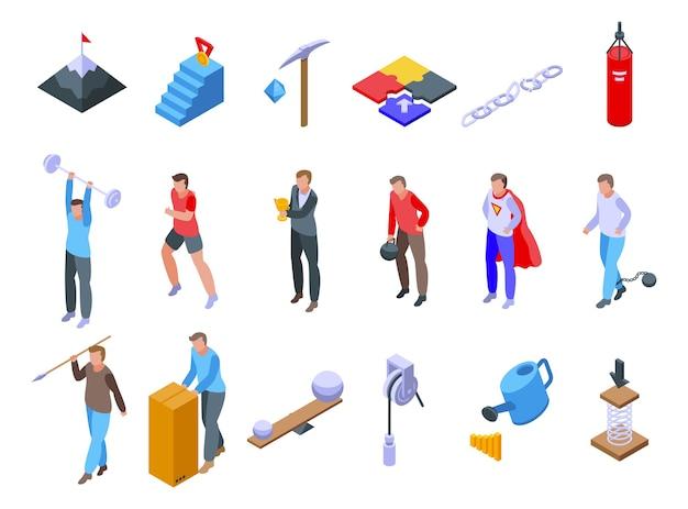 Set di icone di sforzo. insieme isometrico delle icone di sforzo per il web isolato su priorità bassa bianca