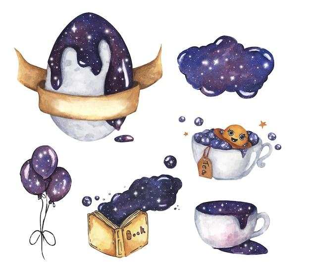 Uovo, palloncini, libro giallo aperto, tazza di caffè con set cosmico spaziale. illustrazione dell'acquerello.