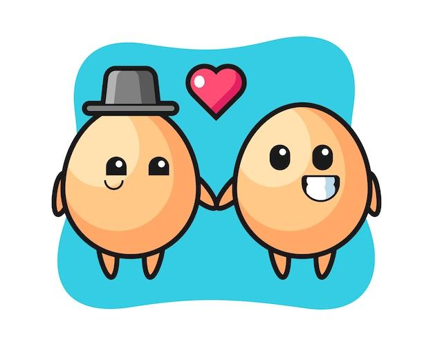 Coppia di personaggi dei cartoni animati dell'uovo con gesto di innamoramento, design in stile carino per t-shirt, adesivo, elemento logo