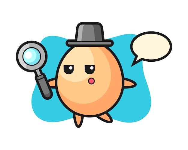 Personaggio dei cartoni animati uovo alla ricerca con una lente d'ingrandimento, stile carino per t-shirt, adesivo, elemento logo