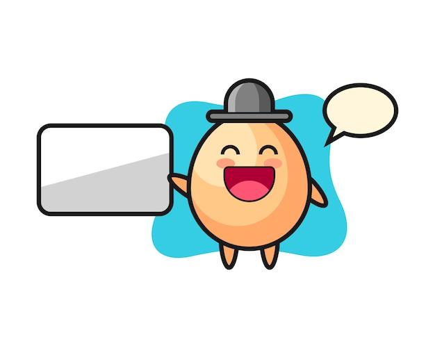 Egg l'illustrazione del fumetto che fa una presentazione, progettazione sveglia di stile per la maglietta, l'autoadesivo, elemento di logo