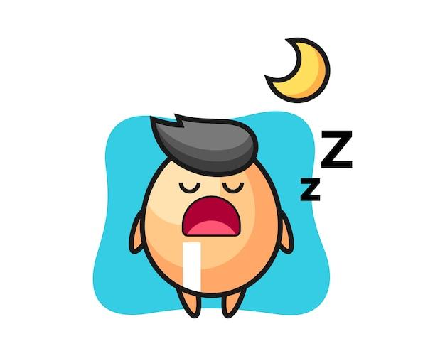 Illustrazione di carattere uovo che dorme di notte, stile carino per t-shirt, adesivo, elemento logo