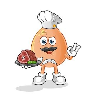 Cuoco unico dell'uovo con la mascotte della carne. cartone animato