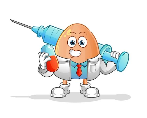 Medico dell'uovo che tiene medichine e illustrazione dell'iniezione