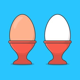 Uovo in portauovo isolato sull'azzurro