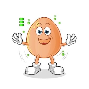 Carattere di batteria piena di uova. mascotte dei cartoni animati
