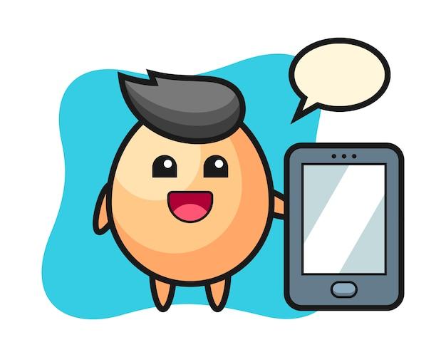 Egg il fumetto dell'illustrazione che tiene uno smartphone, stile sveglio per la maglietta, l'autoadesivo, elemento di logo