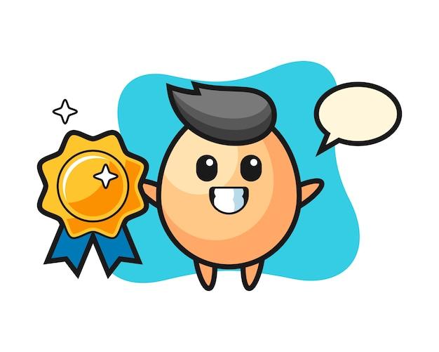 Illustrazione della mascotte dell'uovo che tiene un distintivo dorato, stile sveglio per la maglietta, adesivo, elemento di logo