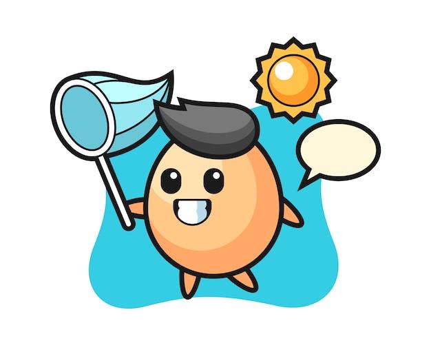 L'illustrazione della mascotte dell'uovo sta catturando la farfalla, stile sveglio per la maglietta, adesivo, elemento di logo