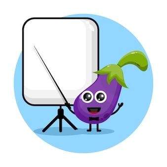 La melanzana diventa un logo di un simpatico personaggio insegnante