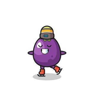 Il cartone animato di melanzane come un giocatore di pattinaggio sul ghiaccio che esegue un simpatico personaggio di melanzane tiene in mano un vecchio telescopio