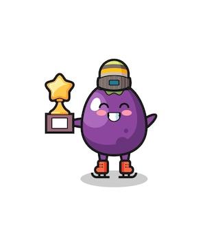Il cartone animato di melanzane come un giocatore di pattinaggio sul ghiaccio tiene in mano il trofeo del vincitore il simpatico personaggio di melanzane tiene in mano un vecchio telescopio