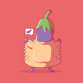 Illustrazione di vettore del carattere emoji di melanzane concetto di design della tecnologia di chat di comunicazione