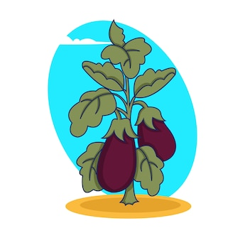 Pianta di melanzane con frutti viola maturi che crescono nell'illustrazione di terra su fondo bianco.