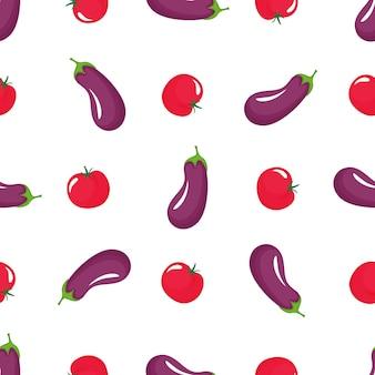 Modello senza cuciture di melanzane e pomodori rossi. cibo vegetariano biologico. utilizzato per superfici di design, tessuti, tessuti, carta da imballaggio.