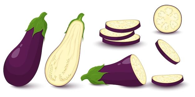 Insieme della melanzana isolato su priorità bassa bianca. intera, a fette, metà di melanzana fresca. ingredienti di vettore per insalata.