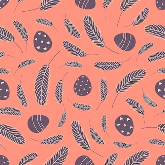 Uova e piume pasqua seamless pattern