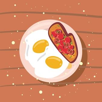 Uova fritte e pomodori
