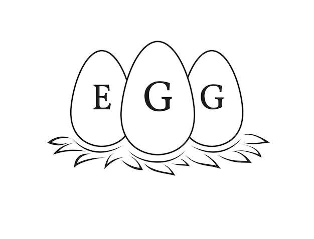 Uova su paglia per allevamento di polli e logo di allevatore di uova