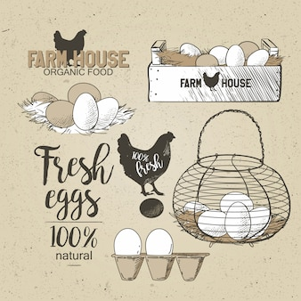 Uova nel filo vintage del paese francese