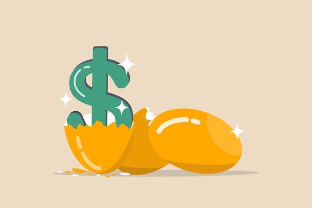Uova con uno schiuse un segno di denaro dollaro