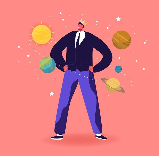 Ego, narcisistic self love behavior illustrazione. personaggio maschile in crown immagina di essere il centro dell'universo con i pianeti che rotolano intorno a lui