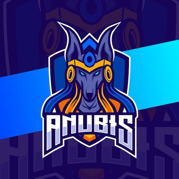 Il logo esport della mascotte anubis egiziano progetta il personaggio per il gioco