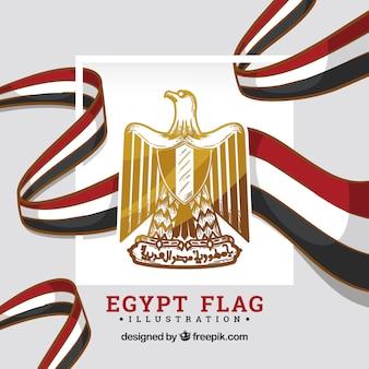 Bandiera dell'egitto con scudo Vettore Premium