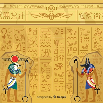Egitto sfondo geroglifico Vettore Premium