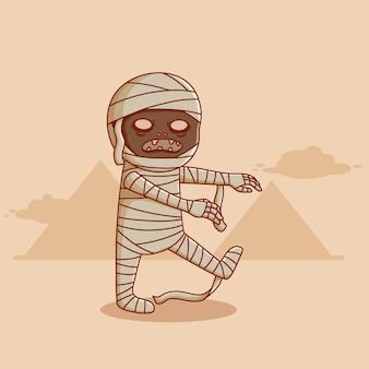 Personaggio dei cartoni animati di mummia egiziana disegno vettoriale di mummia di halloween