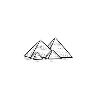 Icona di doodle di contorni disegnati a mano delle piramidi dell'egitto. monumento antico e turismo, concetto di pietra miliare della storia. illustrazione di schizzo vettoriale per stampa, web, mobile e infografica su sfondo bianco.