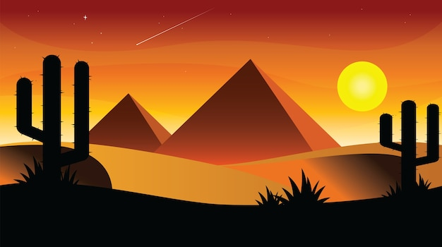 Egitto tramonto cartoon design piatto.
